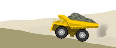 The dump truck pollutes the air
