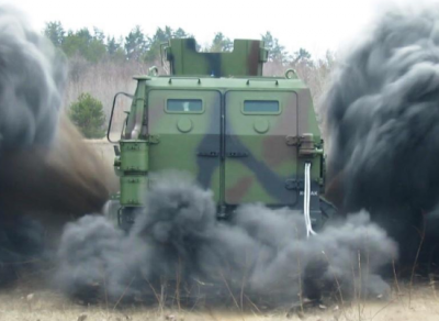 Blowing up an armored vehicle